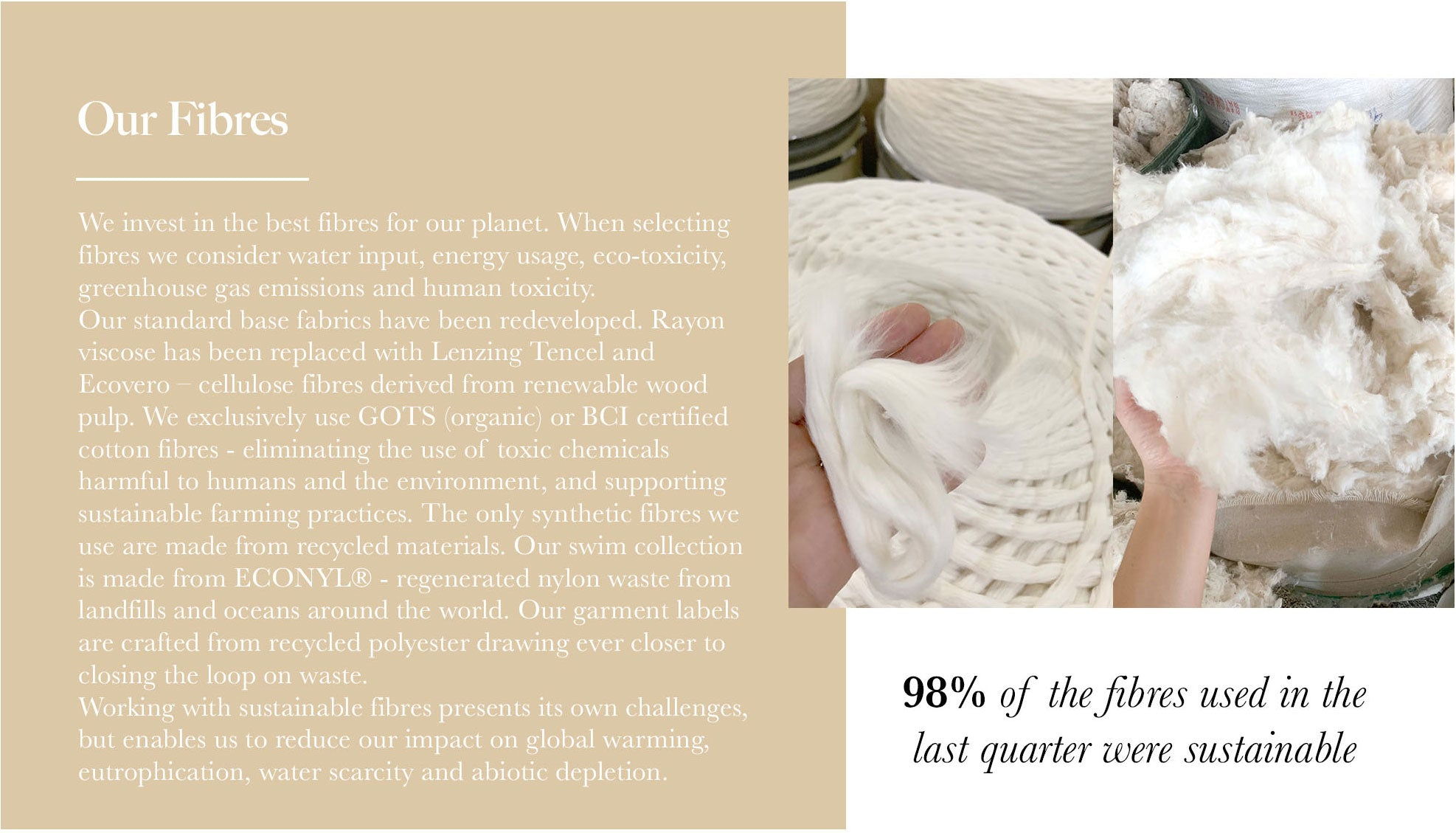 Discover Arnhem clothing who use 98% sustainable fabrics