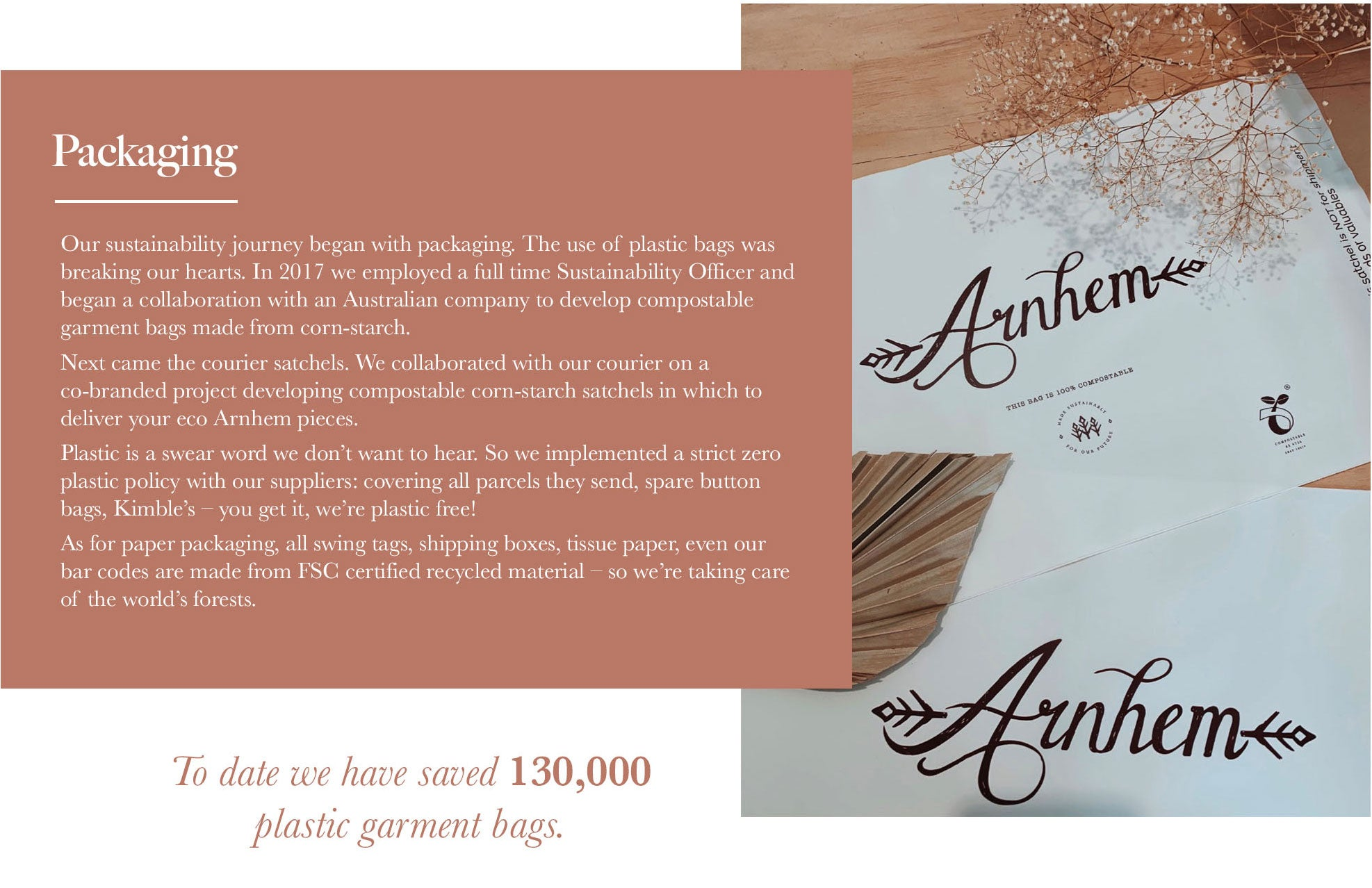 Arnhem Clothing Australia use 100% Plastic Free Packaging