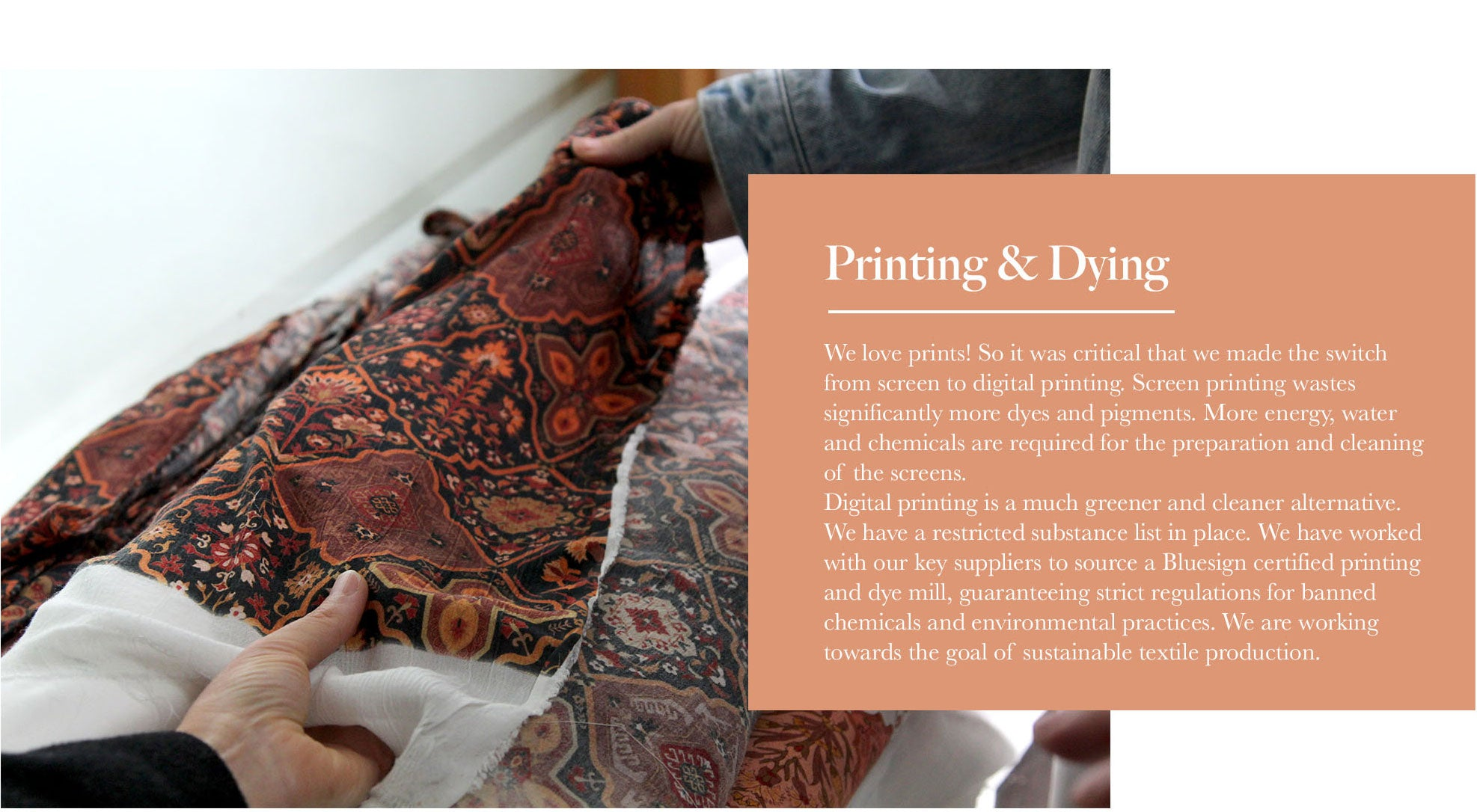 Arnhem clothing share printing & dying information during the creating of their eco friendly clothing