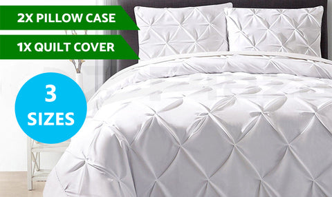 Luxury Pinch Pleat Diamond Quilt Cover Set