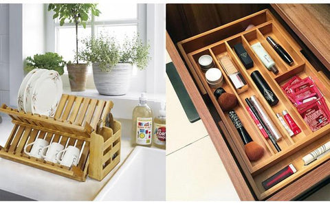 Bamboo Drawer - Bamboo Expendable Drawer Organiser Or Dish Rack And Utensil Holder