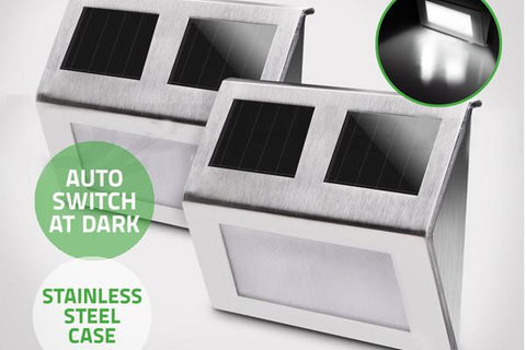 Electronics,Home & Garden,Home Deco,Outdoors,End Of Season - 4X Solar Powered Stainless Steel LED Step Lights