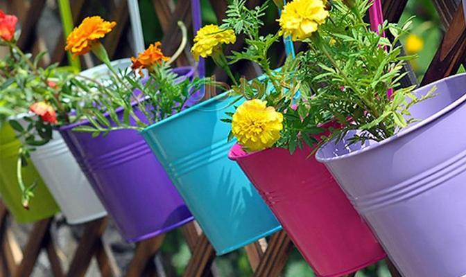 Flower Pot - 10x Metal Hanging Flower Pots