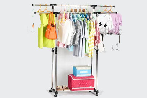 Home & Garden,Home Deco,Essentials,End Of Season - Double Portable Stainless Steel Clothes Hanger
