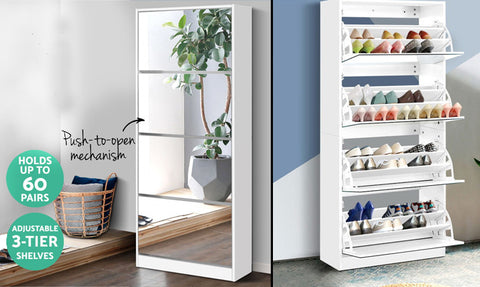 60 Pairs Mirror Shoe Cabinet
