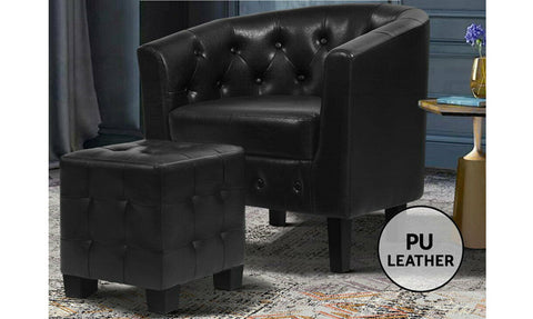 Leather Armchair Lounge Chair with Ottoman
