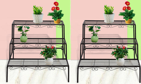 2x  3 Tier Metal Pot Plant Stands
