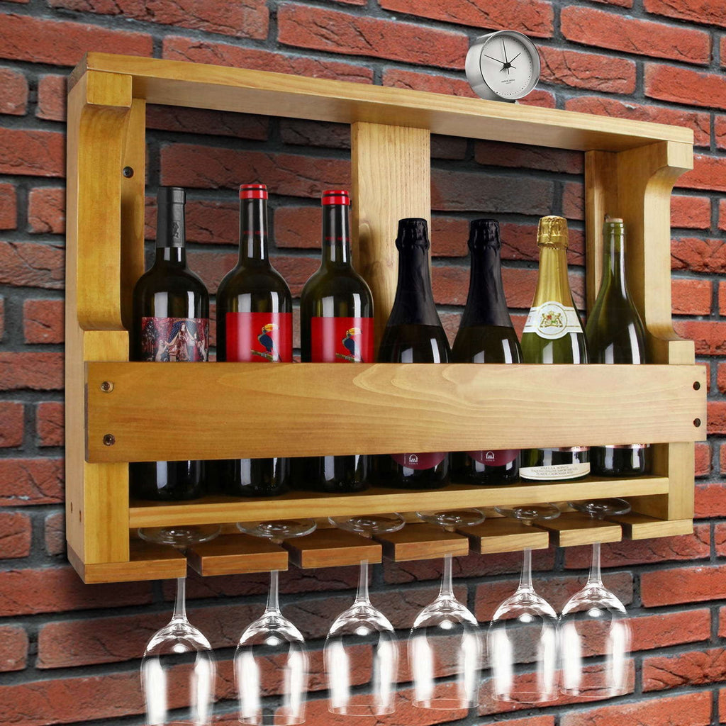 Pine Wood Wall Mounted Wine Rack Direct On Sale