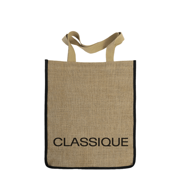 JUTE BAG WITH CANVAS HANDLES