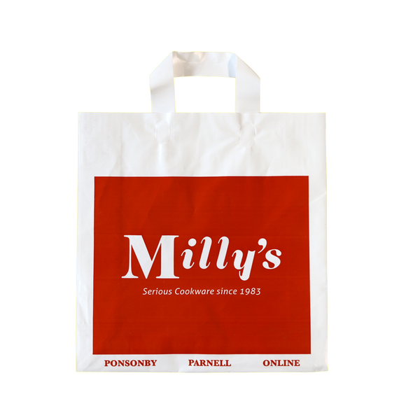 PLASTIC CARRY BAG WITH PLASTIC STRIP HANDLES