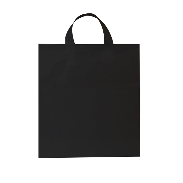 LARGE BLACK PLASTIC BAGS WITH SOFT LOOP HANDLES - 250 UNITS