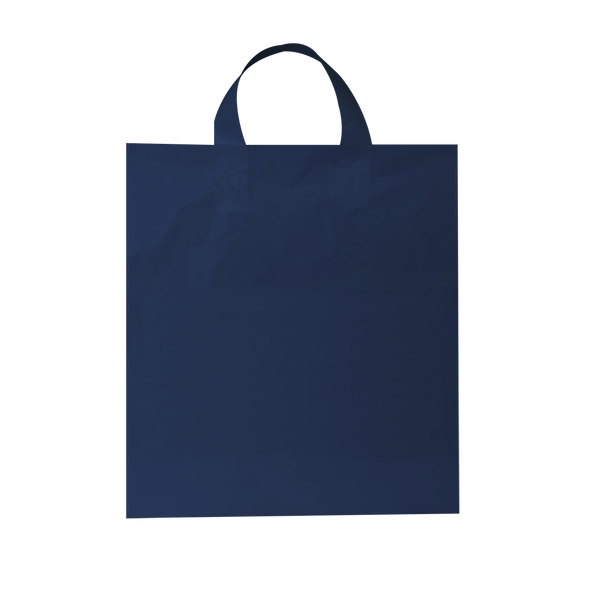 LARGE NAVY PLASTIC BAGS WITH SOFT LOOP HANDLES - 250 UNITS