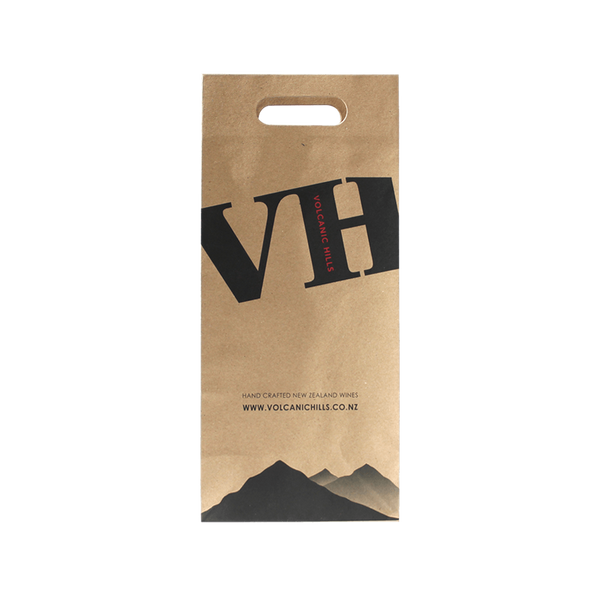 KRAFT PAPER WINE BAG WITH DIE CUT HANDLES