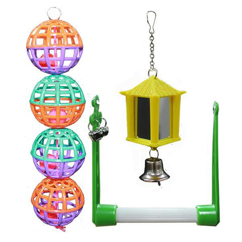 Bird - Toy 3 pack swing balls mirror lantern