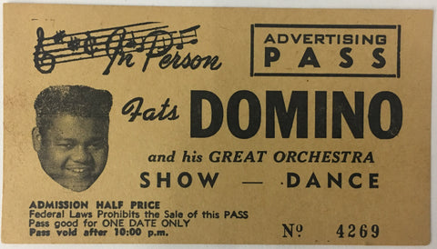 Fats Domino 1957 WEST COAST TOUR PASS