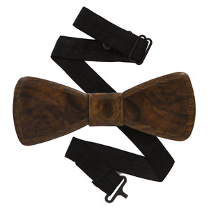Walnut and Walnut Burl Wood Bow Tie