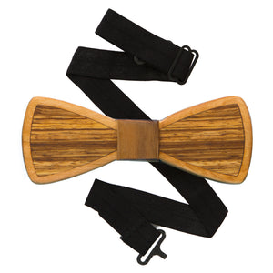 Zebra Inlay Wood Bow Tie