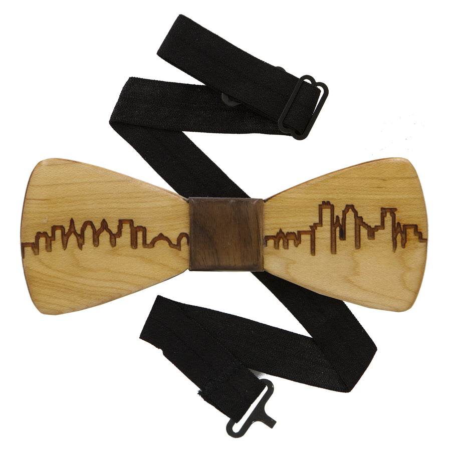 City Skyline Maple Wood Bow Tie