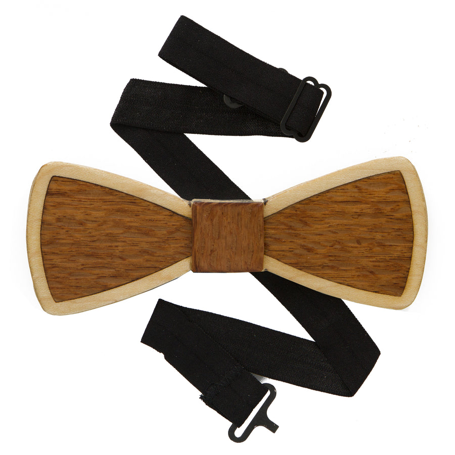 Lacewood and Maple Two Toned Wood Bow Tie