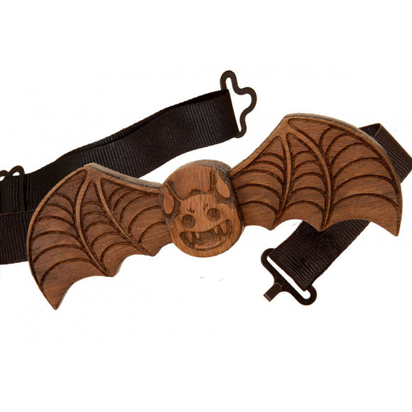 Bat Walnut Wood Bow Tie