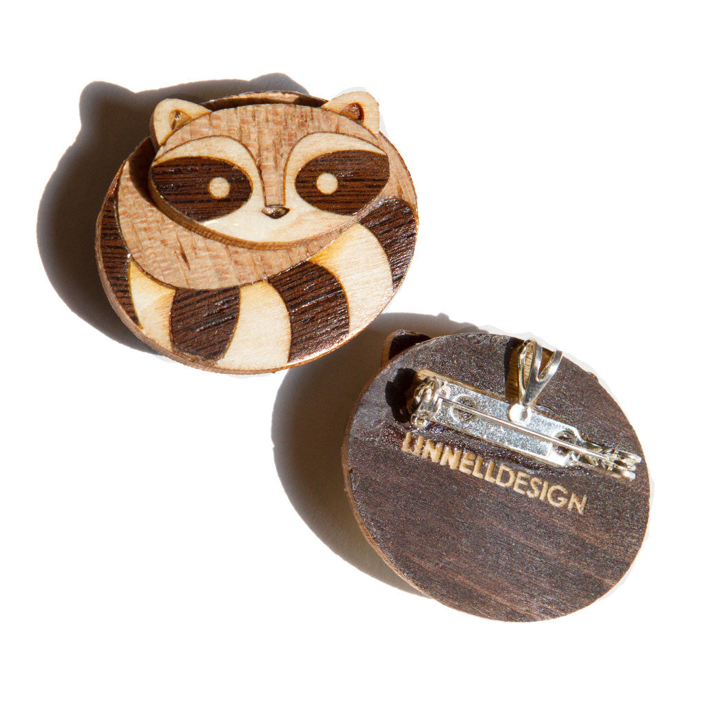 Marquetry Loon Brooch Pin Inlaid Wood by Linnell Design