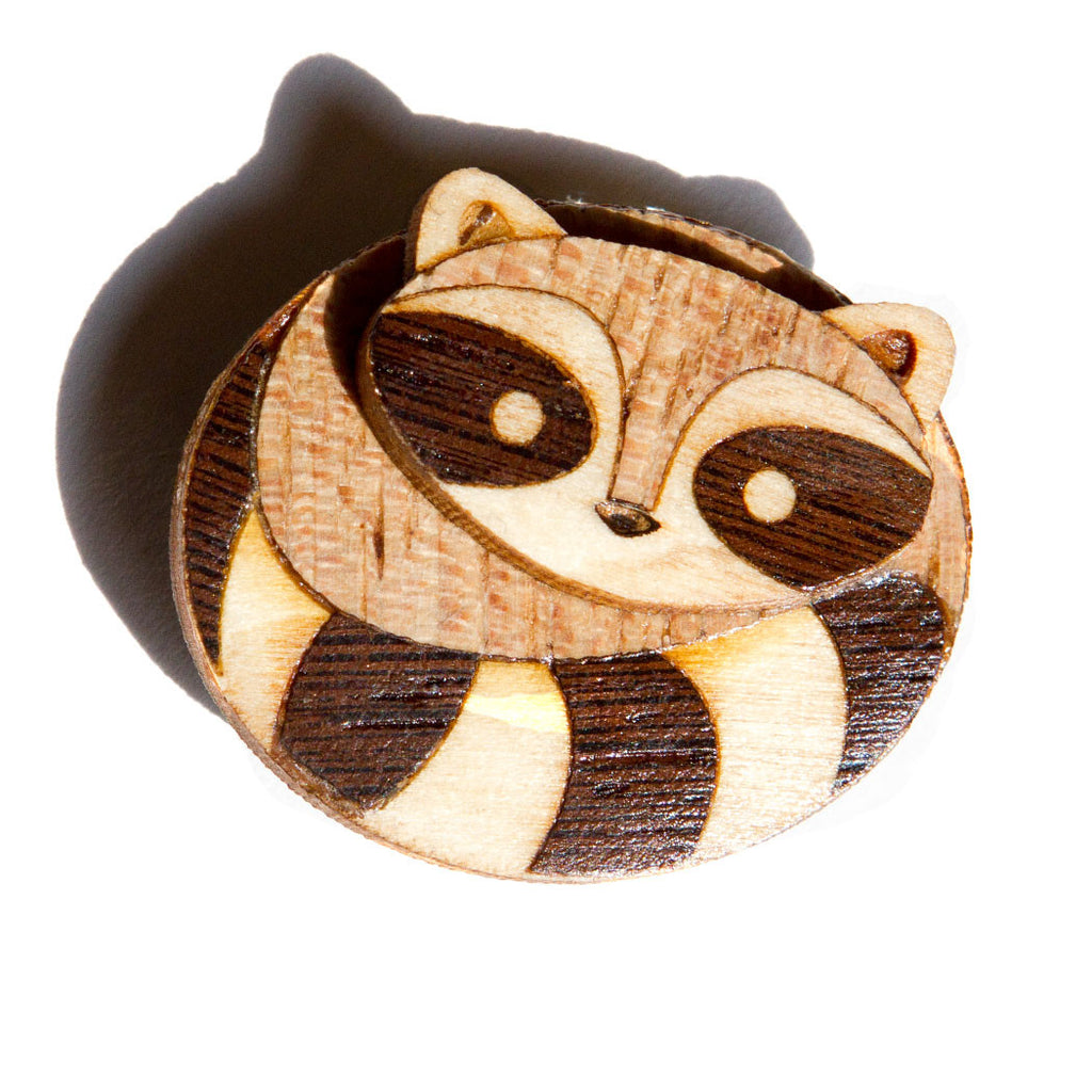 Wood Brooch Raccoon