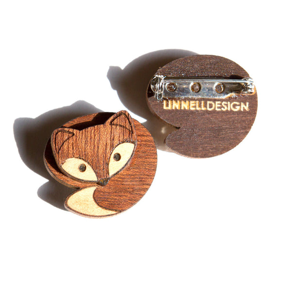 Fox Brooch Pin and Pendant Marquetry Inlay Wood