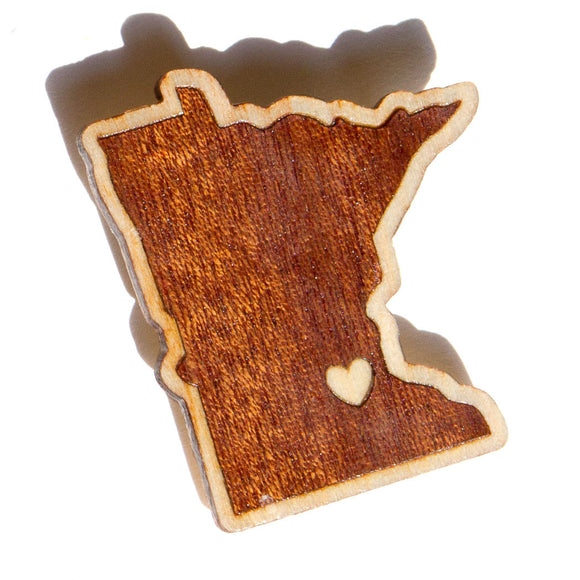 Wood Brooch Minnesota State