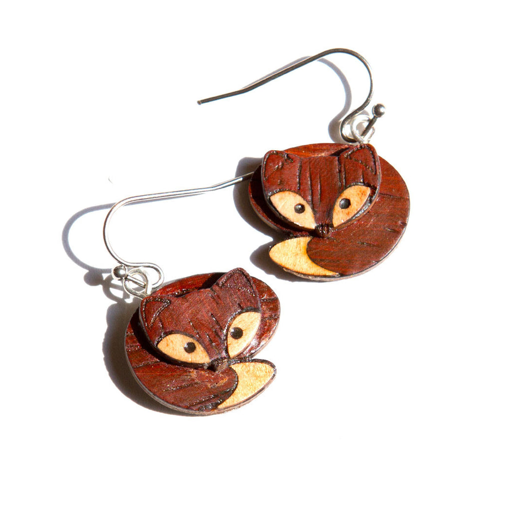 Fox Dangle Earrings Marquetry Inlay Wood