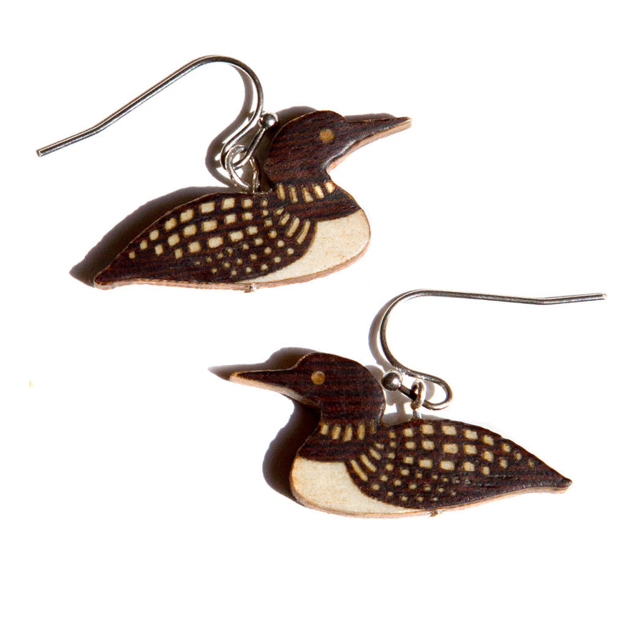 Loon Dangle Earrings Marquetry Inlay Wood