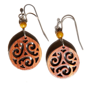 Dangle wood earrings scroll