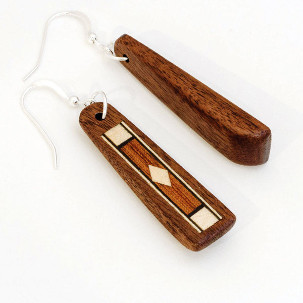 Dangle Earrings Marquetry Inlay Wood Diamond Pattern