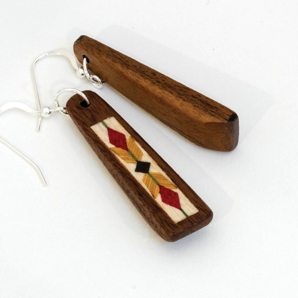 Dangle Earrings Marquetry Inlay Wood Floral Pattern