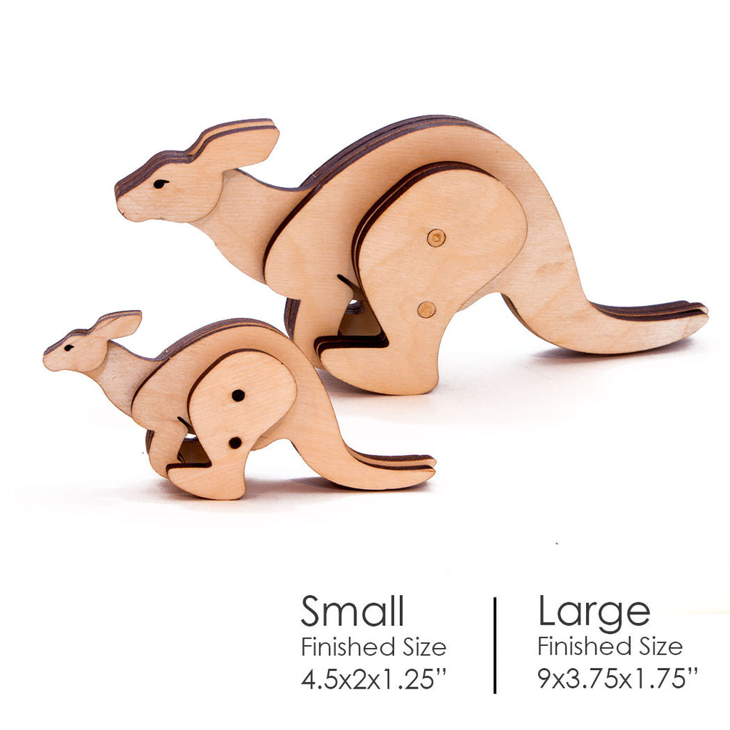Kangaroo Kinetic Wooden Toy Small and Large