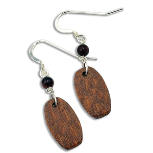 Lace Wood Earrings with Tiger Eye Beads
