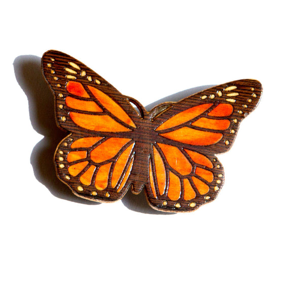Butterfly Monarch Brooch Pin and Pendant Marquetry Inlay Wood