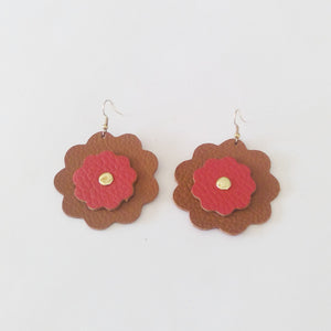 Two Color Daisy Leather Earrings