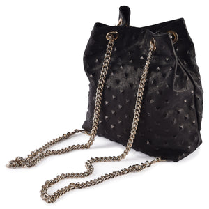 Chain Reaction Bucket Leather Convertible Handbag: Shoulder, Hand, Cross and Backpack