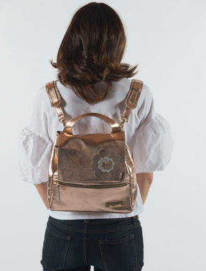 Metallic Convertible Leather Backpack