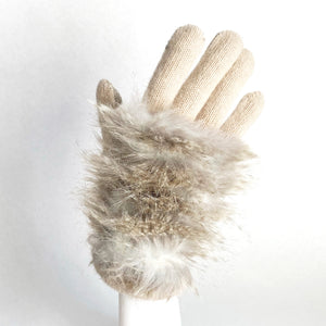 Touch Screen Barred Faux Fur Glove