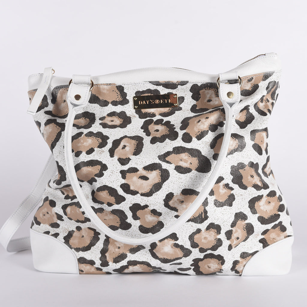 Leopard Leather Print Convertible Handbag