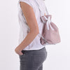 Checkered Drawstring Leather Handbag