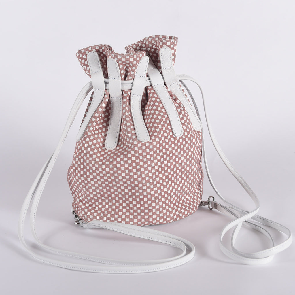 Checkers Mia Leather Drawstring Bucket Leather Handbag
