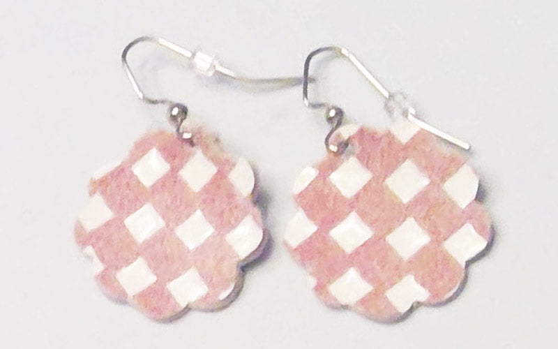 Checkered Leather Collection Earrings