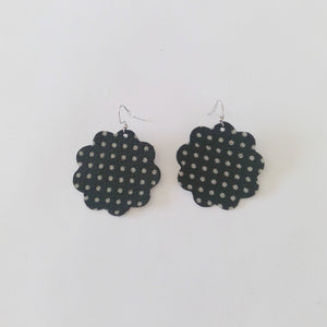 Large Daisy Leather Earrings
