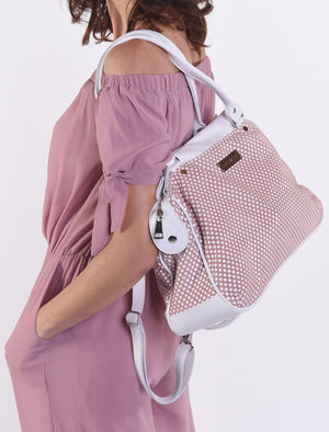 Checkered Sienna Satchel Leather Handbag