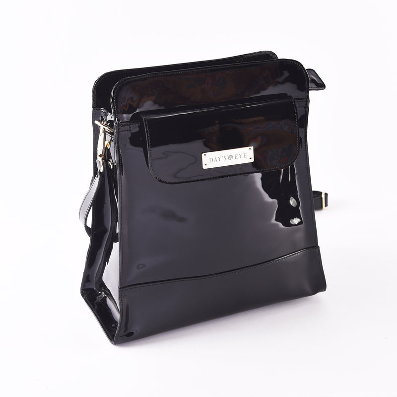 Patent Leather Satchel Convertible Handbag: Shoulder and Backpack