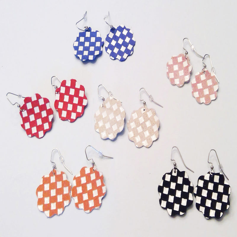Checkered Collection Leather Earrings