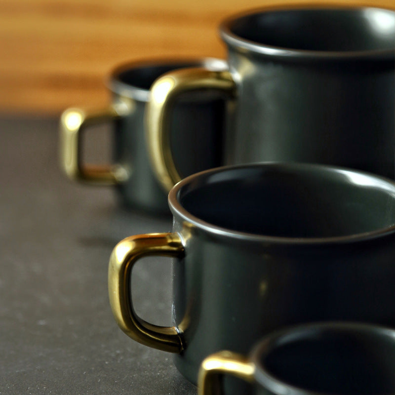 Stoneware Black & Gold Mug