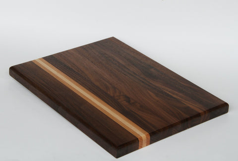 Blackcomb - Black Walnut with Cherry and Maple Strips Cutting Board